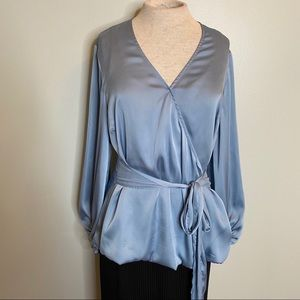 INC Baby Blue Wrap Style Dress Blouse Size Large